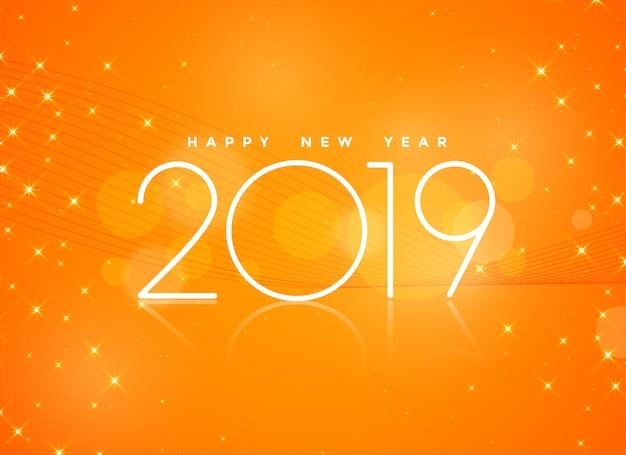 Schöner orange hintergrund des guten rutsch ins neue jahr 2019