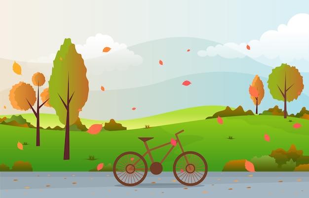 Schöner park-garten im fall-herbst mit baum-himmel-landschaftsillustration