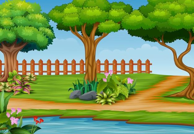 Schöner parklandschaftshintergrund mit fluss