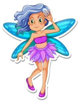 Schöner pixie-cartoon-charakter-aufkleber