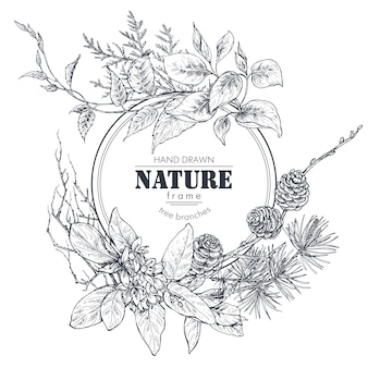 Schöner rahmen mit handgezeichneten zweigen blumen und pflanzen monochrome vektorillustration