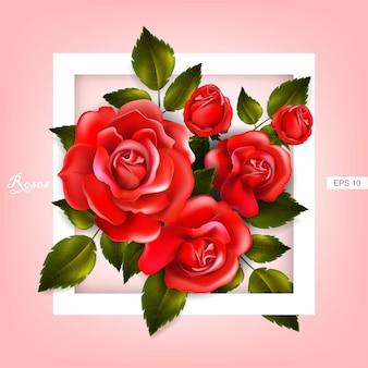 Schöner rahmen mit roten rosen und blättern. blumengesteck
