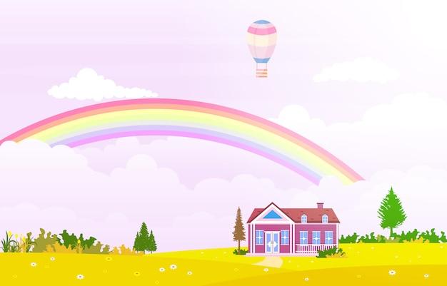 Schöner regenbogen-himmel mit grüner wiesen-gebirgsnatur