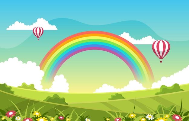 Schöner regenbogen in der sommer-naturlandschafts-landschaftsillustration