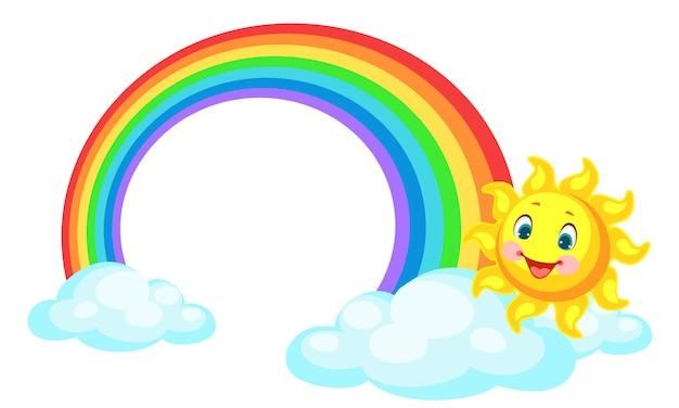 Schöner regenbogen mit der sonne