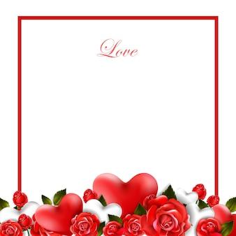Schöner romantischer hintergrund mit roten rosen und blättern. blumengesteck.