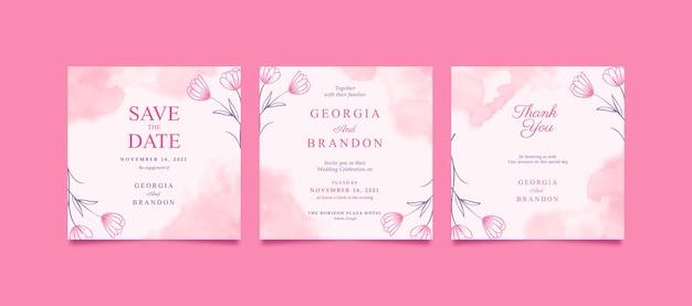 Schöner rosa instagram-beitrag für hochzeit