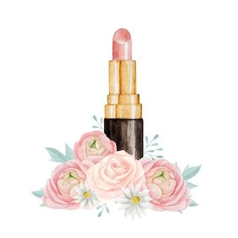 Schöner rosa lippenstift mit aquarellblumenkomposition