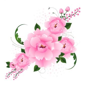 Schöner rosa realistischer blumenblumenanordnungsrahmen