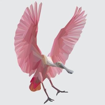 Schöner rosa spoonbill im flug-polygonalen vektor