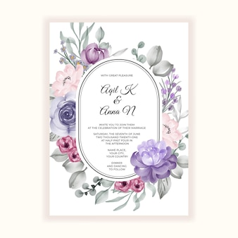 Schöner rosa violetter blumenrahmen für hochzeitseinladung