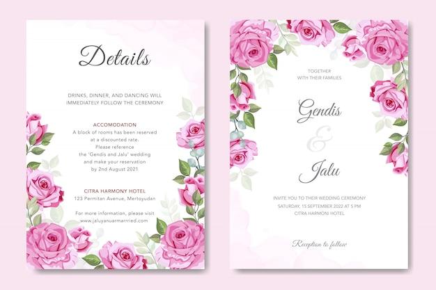 Schöner rosafarbener vektor für hochzeitseinladung