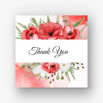 Schöner rosenrahmenhintergrund für hochzeitseinladung mit roter mohnblume