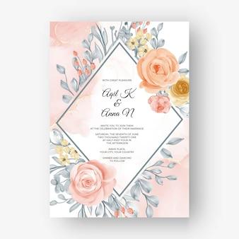 Schöner rosenrahmenhintergrund für hochzeitseinladung mit weicher pastellfarbe