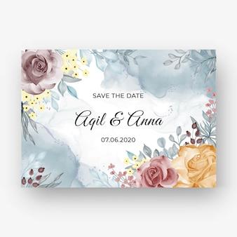 Schöner rosenrahmenhintergrund für hochzeitseinladung mit weicher pastellfarbeschöner rosenrahmenhintergrund für hochzeitseinladung mit weichem pastellherbst