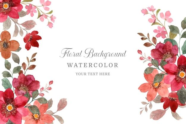Schöner roter blumenhintergrund mit aquarell
