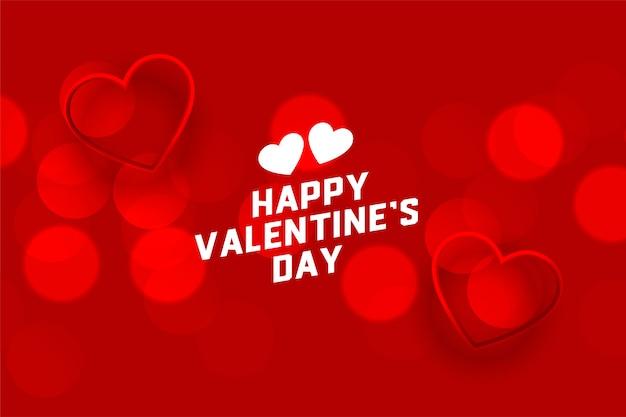 Schöner roter glücklicher valentinstag bokeh hintergrund