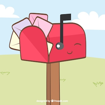 Schöner roter mailbox hintergrund mit umschlägen