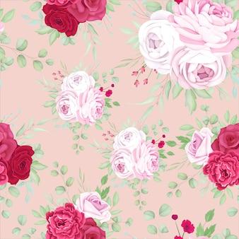 Schöner roter und rosa blumenrahmen nahtloses musterdesign