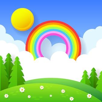Schöner saisonhintergrund mit hellem regenbogen, blumen im gras.