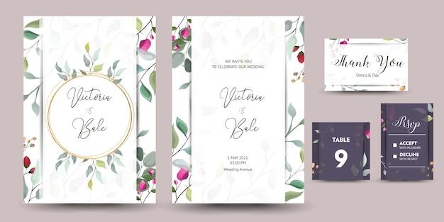 Schöner satz der dekorativen grußkarte oder einladung mit blumenmuster