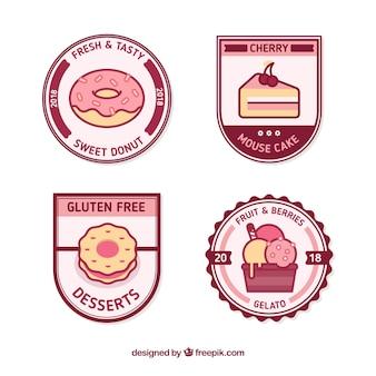 Schöner satz von dessert-abzeichen