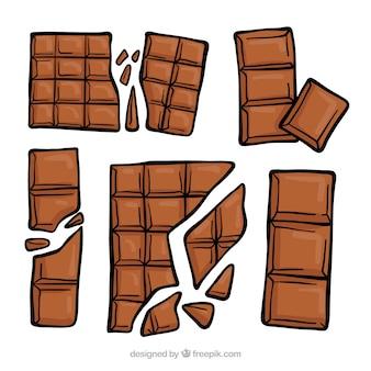 Schöner satz von hand gezeichneten schokoladen