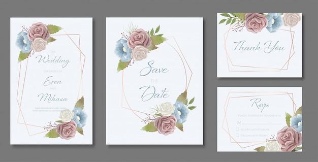 Schöner satz von hochzeitskartenvorlagen. dekoriert mit rosen und wilden blättern im vintage-stil.