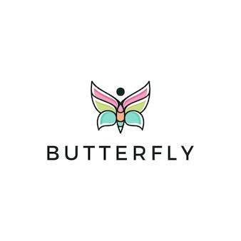 Schöner schmetterling monoline logo design