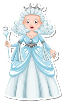 Schöner schneekönigin-cartoon-charakter-aufkleber