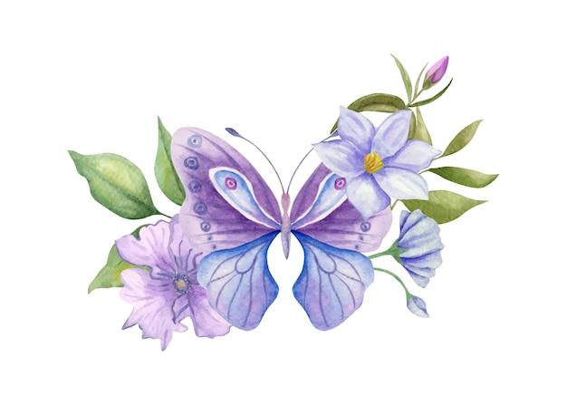 Schöner schöner aquarell handgezeichneter schmetterling mit floralen elementen