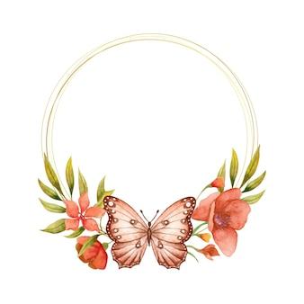 Schöner schöner aquarellfrühlingsblumenrahmen