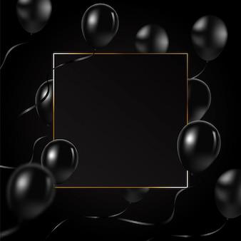 Schöner schwarzer ballonvektor, der nach dem zufall über goldrahmen fliegt.