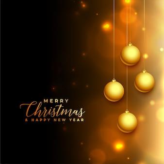 Schöner schwarzer und goldener leuchtender weihnachtshintergrund