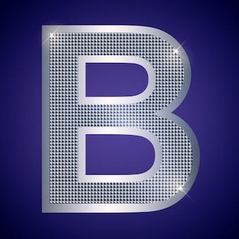 Schöner silberner buchstabe b mit brillanten. vektorschrift, alphabetschrift für logo oder symbol eps10