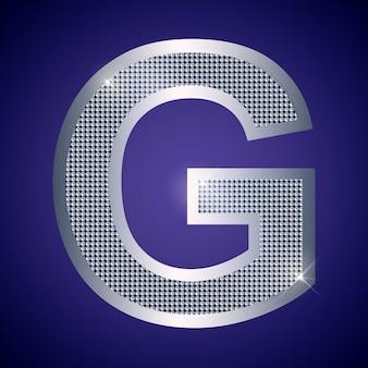 Schöner silberner buchstabe g mit brillanten. vektorschrift, alphabetschrift für logo oder symbol eps10