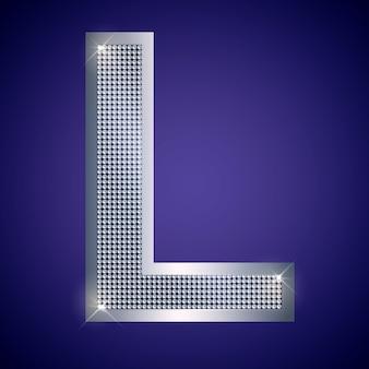 Schöner silberner buchstabe l mit brillanten. vektorschrift, alphabetschrift für logo oder symbol eps10