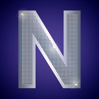 Schöner silberner buchstabe n mit brillanten. vektorschrift, alphabetschrift für logo oder symbol eps10