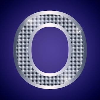 Schöner silberner buchstabe o mit brillanten. vektorschrift, alphabetschrift für logo oder symbol eps10