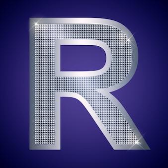 Schöner silberner buchstabe r mit brillanten. vektorschrift, alphabetschrift für logo oder symbol eps10