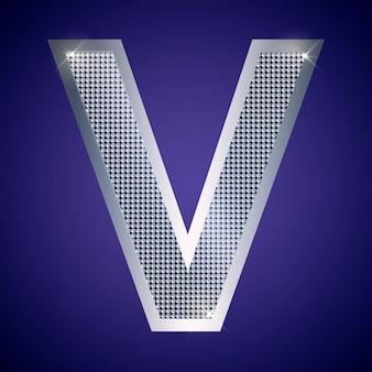 Schöner silberner buchstabe v mit brillanten. vektorschrift, alphabetschrift für logo oder symbol eps10