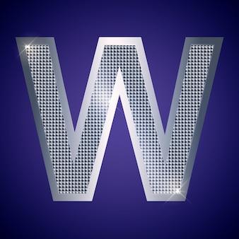 Schöner silberner buchstabe w mit brillanten. vektorschrift, alphabetschrift für logo oder symbol eps10