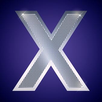 Schöner silberner buchstabe x mit brillanten. vektorschrift, alphabetschrift für logo oder symbol eps10