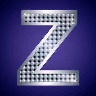 Schöner silberner buchstabe z mit brillanten. vektorschrift, alphabetschrift für logo oder symbol eps10