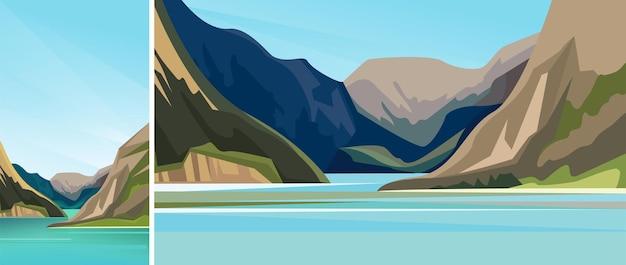 Schöner skandinavischer fjord