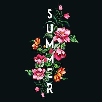 Schöner sommer-hintergrund mit dem aquarell mit blumen