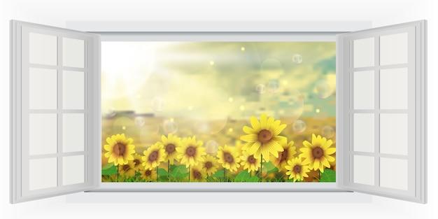 Schöner sommer mit sonnenblume der geöffneten fensteransicht