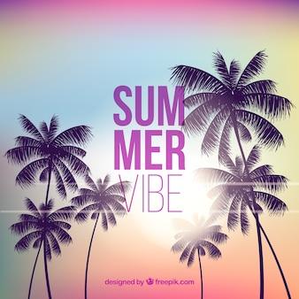 Schöner sommerhintergrund mit palmeschattenbildern bei sonnenuntergang