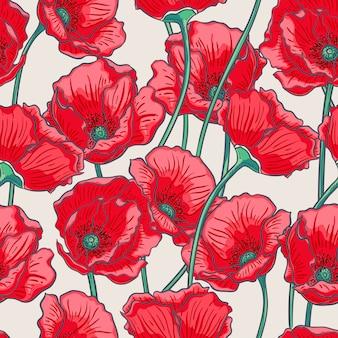 Schöner sommernaturhintergrund mit roten mohnblumen