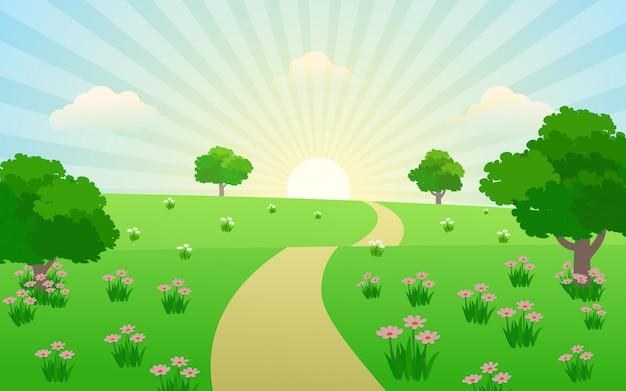 Schöner sonnenaufgang in der landschaft mit fußweg